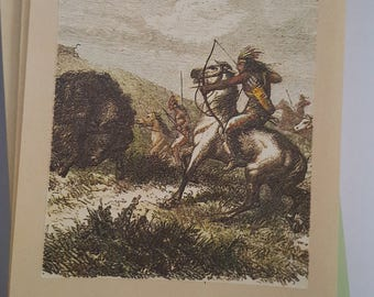 Vintage Antioch Bookplate Co Ex Libris for your library. Native American scene, Buffalo hunting, gummed backing 38 pieces