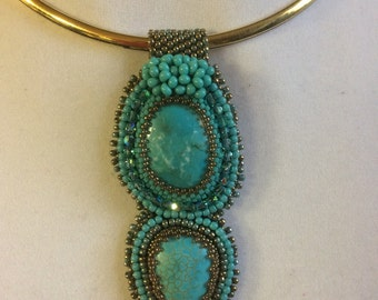 SOLD  Bead embroidery pendant, turquoise and gold