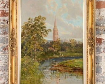 19th century German Gothic Town -Original Oil Painting on canvas -Signed