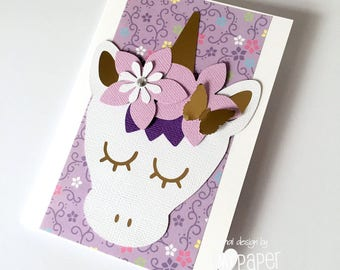Unicorn greeting card, Purple, white and gold. Birthday card, new baby girl card. Believe in unicorns. Happy birthday card. Floral unicorn.