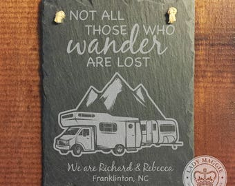 Personalized Pop Up Camper Sign - Welcome to our Campsite Slate Sign - Custom Engraved - Camper Hanging Slate Sign - Camping Welcome Plaque