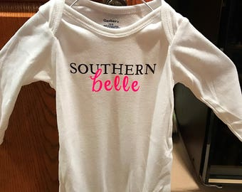 White onesie with Southern Belle. Baby girl onesie. Baby shower gift