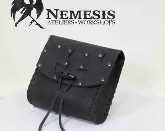 Soft leather purse - small - black