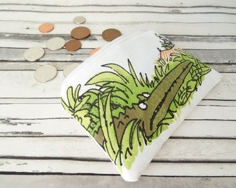 Personalised The enormous crocodile coin purse, Roald Dahl coin purse, kids wallet, Africa coin purse, crocodile pouch, kids coin purse