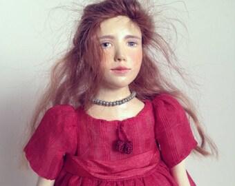 OOAK doll in a red dress