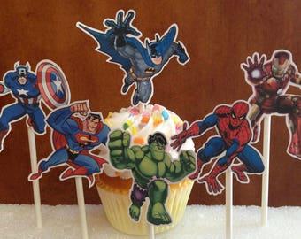 super hero cupcake toppers, super hero party, batman topper, superman topper, boys birthday party, super hero decorations