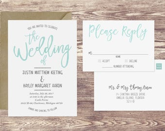 Watercolor Wedding Invitation & RSVP Postcard, Turquoise Wedding Invitation, Teal Blue Watercolor Wedding Invite, Customized Wedding Invite