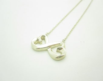 Tiffany & Co. Sterling Silver Picasso Double Loving Heart Pendant Necklace 16""