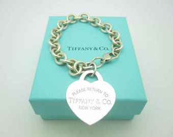 Please Return To Tiffany & Co. Silver Extra Large Heart Tag Bracelet with Box 7 1/2""