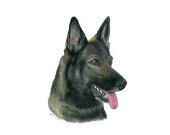 Police Dog Art - German Shepherd Print - K-9 Officer Gift - German Shepherd Art - Police Dog Painting - K9 Print - German Shepherd Decor