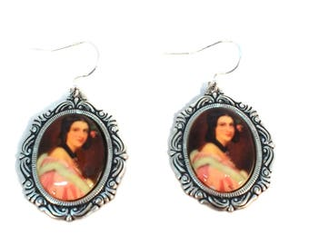 Silverware Silver Plate Victorian Woman in Pink Dress Cameo Drop Earrings Hypo Allergenic, Nickle Free
