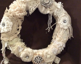 Shabby Chic Wreath, Shabby Chic Holiday Wreath, Victorian Style Wreath, Year Round Wreath, Vintage Inspired Wreath, Wedding Decor Wreath