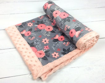Baby blanket, personalized Minky blanket floral blanket flowers blanket pink coral gray blanket baby shower gift, girl blanket, pink blanket