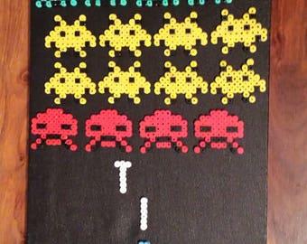 Space Invaders Retro Pixel Art Canvas