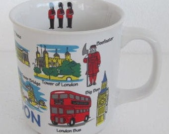 London British Doubledecker City Bus Collectible National Landmark Tourist Collectible Coffee Mug Lambert Souvenirs