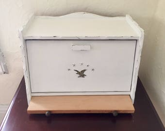 Vintage wood bread box with cutting board, eagle and stars with shelf, white, distressed