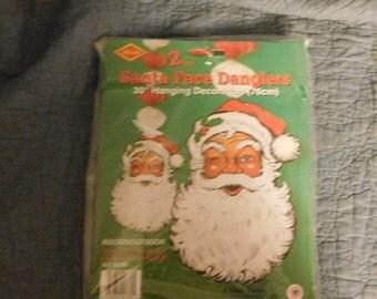 2 Piece Santa Face Danglers Christmas