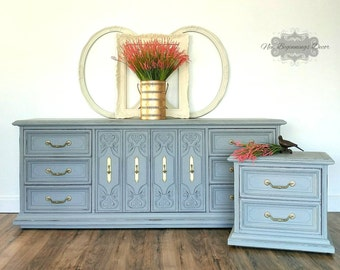 Sold........Annie Sloan Chalk Painted Solid Dresser and Nightstand/bedroom furniture/changing table/buffet/media center/entry piece vintage