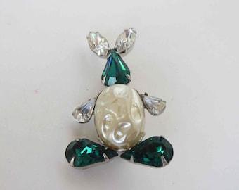 Sweet Emerald & Crystal Pear Rhinestone and Faux Pearl Bunny Rabbit Brooch