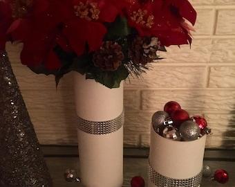 White Jeweled Vases (set of 2)