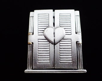 JJ Jonette Lovers Behind Shutters Brooch Pin/Rare