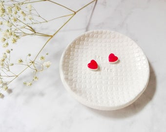 Engagement ring dish, wedding ring holder, Mr and Mrs, red hearts ring dish, engagement gift, ring holder personalized, wedding deco
