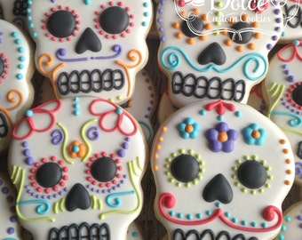 Sugar Skull Day of the Dead Halloween Wedding Favor Cookies