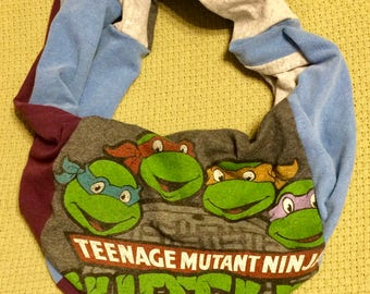 Teenage Mutant Ninja Turtles Scarf, TMNT - Upcycled T-Shirt Infinity Scarf, T-Shirt Scarf