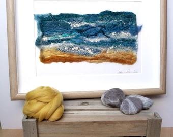 Felt Art, Seashore, Wet Felted Picture, Felt, Mixed Media, Fiber Art, Felt Picture, Felt Painting