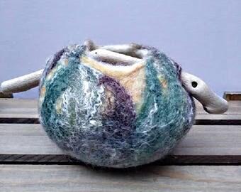 "Wet Felted Pot, ""Pumpkin"" Felt Pot, Wool Pot, Driftwood Pot, Wet Felted Bowl, Jewelry Pot, 12 cm felt bowl, Felt Art, Wool Vessel"