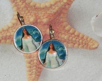 Yemaya yemonja Orisha  lever back silver earrings