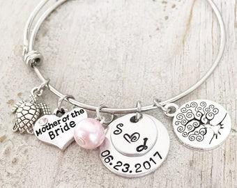 Mother Of The Groom Bracelet - Mother Of The Bride Bracelet - Wedding Party Gifts - Silver Bracelet - Wedding Charm Bracelet