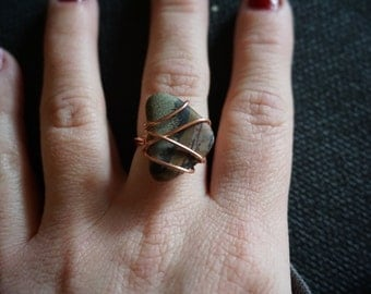 Size 7 Wire Wrapped Ring with Picasso Jasper Stone