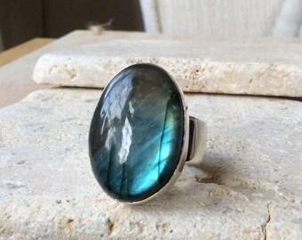 Labradorite Silver Ring, Large Gemstone Ring, Labradorite Silver Statement Ring, Large Stone Ring, Silver Cocktail Ring