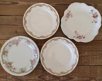 Vintage Set of 4 Mix Matched Dinner Plates