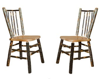 2 Rustic All Hickory Kitchen Chairs with Spindle Back