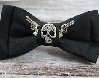"""Fly """"Skull & gun"""" rockabilly bowtie bow-tie gun metal Gothic"""