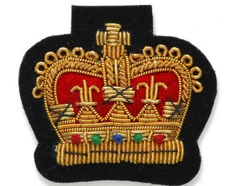 """Crown Bullion Wire Embroidered Badges, Sew-on Applique Patch by 1 pc, 1-5/8""""x1-7/8"""", OSB-25240"""