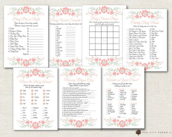 Girl Baby Shower Games - Floral Baby Shower Games, Pink Baby Shower Games, Flower Baby Shower Games, Flower Baby Shower Games, Printable