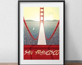 VINTAGE San Francisco Golden gate Bridge Illustration Poster A3 size high quality digital print