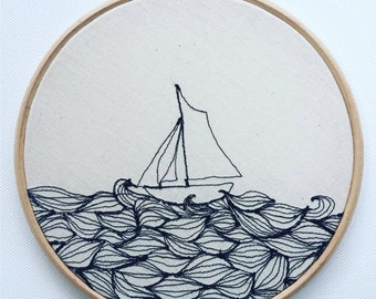 SALE // Float Your Boat Embroidery Hoop