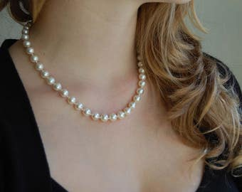 White Pearl Necklace Hand Knotted Necklace Bridal Jewelry Gifts For Mom