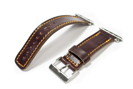 Shell CORDOVAN  Apple Watch Wrist Band 42 mm made by Genuine Shell CORDOVAN Buckle SILVER handcrafted in Italy - watch strap for rev 3 2 1