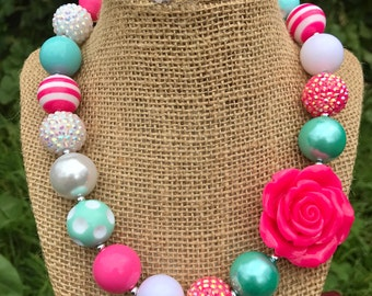 Pink & Mint Chunky Necklace, Neon Pink Rose Necklace, Mint Chunky Necklace