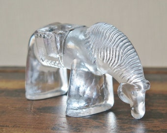Vintage Glass Horse Candle Holder Scandinavian Glass Art Decor Clear Glass Horse Figurine @221