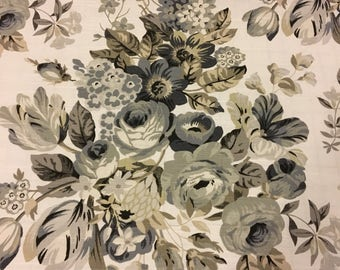 """Robert Allen Gray, Taupe, Natural Floral Fabric - Home Decor - 54""""w - Sold Per YARD"""