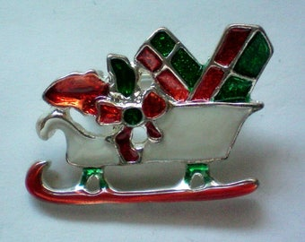 Santa's Sleigh loaded with Presents Pin for Christmas Holidays - 4955