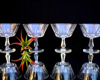 Vintage Crystal Champagne Coupe Glasses || Set of Four Fabulous Mad Men Barware
