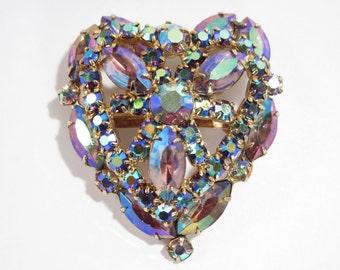 Vibrant Vintage Aurora Borealis Rhinestone Heart Brooch