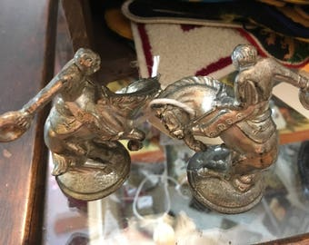 Vintage, Silver Plated, Rodeo, Cowboy Salt/Pepper Shakers, Great Condition, Cast